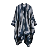 Moda Mujer Poncho Cardigan Suéter Color Contraste Rayado Leopard Falso Cachemira Caps Shawl Scarf Loose Outerwear