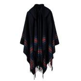 Neue Frauen strickte Poncho Kap Kapuzenstreifen Übergroße Strickjacke Strickjacke Langer Schal Schal Kaschmir Pashmina