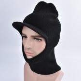 Chapéu de malha unisex Chapéu Beanie Visor Peak Whole Face Mask Ski Balaclava Capa Longa Capuz Preto