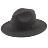 Femmes Hommes Unisexe Felt Trilby Chapeaux Wide Brim Ajustable Fedora Jazz Hat Caps