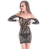 Сексуальное женское женское бельё женское бельё Bodycon миниое платье Sheer Mesh Off плечо выдолбленное простирание эротическое нижнее белье