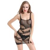 Sexy Frauen Dessous Sheer Mesh Bodycon Minikleid Aushöhlen Stretch Strap Chemise Erotische Unterwäsche