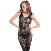 Nueva Sexy Women Lingerie Sheer Lace Babydoll Dress Ahueca hacia fuera Backless sin mangas ropa de dormir ropa de dormir negro