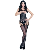 Sexy Women Lace Lingerie Bodystocking Sheer Mesh Cut Out Open Cup Crotchless Erotic Bodysuit Sleepwear Underwear Black