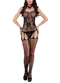 Mujeres exóticas Body Medias Sheer Mesh Lace Floral Espagueti Correa Backless Entrepierna abierta Cut Out Sexy Fishnet