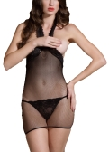 Mulheres Erótica Lingerie Babydoll Ver Através De Malha Floral Rendas Halter V Aberto Para Trás Sexy Sleepwear Preto
