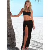 Sexy Women Cover Up Crochet Hollow out Meshy Beachwear Boho Bikini Dress Skirt Summer Beach Beige/Black