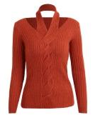 Frauen-Strickjacke-Rippe-Pullover-Pullover-Halfter-Ansatz-lange Hülsen-Torsion-dünne Knitwear-Oberseite