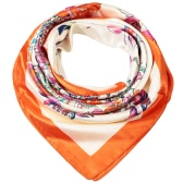 Mode Frauen-Schal-Blumendruck-Quadrat-Entwurf Wraparound Thin Schal Satin Kerchief Rot / Orange / Dunkelblau