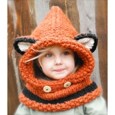 Cute Fox Style 3D Ears Button Knitted Hat Orange/Gray