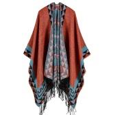 Boho Femmes Tricoté Shawl Poncho Faux Cashmere Géométrique Pattern Tassel Oversized Warm Long Cape