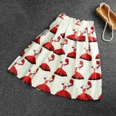 Vintage Print Color Block High Waist A-line Midi Skirt for Women