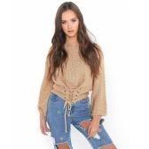 Seksowne kobiety Swetry Trykotowe Slash Neck Lace-Up Bandage Długa Rękawica Dorywczo Z Bluzki Sweter Rozpinana