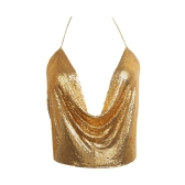 Donne metallo Bassiera Halter Plunge V Catene regolabili maniche Backless paillettes partito Club Vest ritagliata Top
