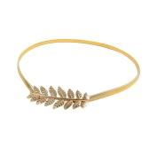 Nuova moda Vintage donne cintura elastica sottile foglia Design chiusura anteriore girovita elasticizzato cintura oro/argento