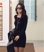Lady Sexy vestido Casual gola redonda manga longa feminino Slim
