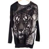 Damen Pullover Tiger Drucken Sweater Pullover Strickwaren Batwing lässig Tops