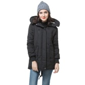 Winter Damen Fleece Parka warme Jacke Hoodie Mantel lange Jacke schwarz (Typ 1)