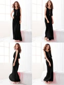 Le donne signora Bohemian Boho Maxi Dress in Chiffon Long Beach a pieghe Sundress