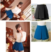 Fashion Women Lady Pleated Divided Skirt Mini OL Tiered Summer Shorts Culottes Pantskirt Black