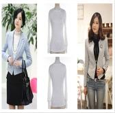 Las mujeres otoño camiseta encaje cuello alto manga larga Slim Fit bajo Top T camisa blanca