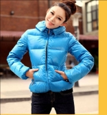 Winter Women Parka Faux Fur Collar Zip Candy Color Thick Outerwear Coat Blue