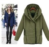 Kobiety Moda Trench Coat Winter Parka Loose płaszczu z kapturem Długie kurtki zieleń wojskowa