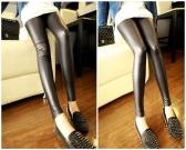 Mulheres sexy PU Leggings cós elástico elástico calça calças preto