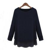 Nueva moda mujer chaqueta dos piezas manga larga Gasa y Tops de punto flojo suéter camiseta negro
