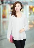 Nova moda mulheres blusa Chiffon Manga longa rodada pescoço camisa plissada solta no máximo branco