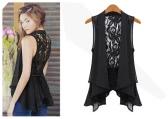 Las mujeres de moda sexy blusón Sheer gasa de encaje chaleco sin mangas nuevo tapas negro