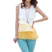 Nuove donne carino ragazza in Chiffon Canottiere Cascata volant camicetta senza maniche camicia giallo