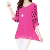 Mode Frauen Chiffon Bluse Polka Dot-Batwing Ärmel lose V-Ausschnitt Shirt Top Rose