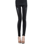 Mujeres coreanas Sexy Leggings PU cuero empalme elástico Cintura elástica pantalones medias una raya