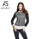 Anself Fashion Women Tops Chiffon Patchwork Pocket Long Sleeve Elegant Pullover Blouse