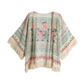 New Retro Women Boho Kimono Floral Print Fringe Open Front Loose Shawl Cardigan Blouse