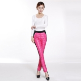 Donne inverno pantaloni contrasto Patchwork Color caramella pantaloni trapuntato spessore caldo Leggings moda