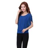 Nueva moda mujer camiseta gasa cuello redondo manga corta murciélago Tee Causal remata la blusa del recubrimiento
