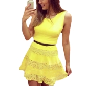 New Fashion Women Slim Dress Sleeveless Lace Splicing A-Line Basic Dress Yellow