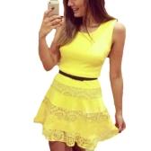 Nuova moda donna Slim abito senza maniche pizzo abito base giallo di Splicing