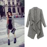 新しいファッション女性コート ドレープ オープン フロント非対称裾長袖カジュアルアウター グレー