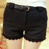 Fashion Women Slim Shorts Side Pockets Lace Cuffs Worsted Short Pants Black/Khaki