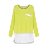 Moda mulheres t-shirt Patchwork do Chiffon duas peças do falso bolso dividir O pescoço Top manga longa verde/azul