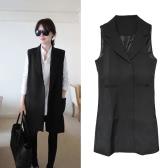 Fashion Women Thin Coat Notched Collar Double Press Stud Pockets Sleeveless Waistcoat Jacket Black