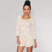New Sexy Women Jumpsuits Floral Lace Knotted Back Scoop Neck 3/4 Sleeve Rompers Playsuits Black/Beige