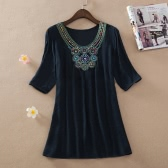 Bohemian Women Blouse Embroidery Beading Half Sleeve Casual Loose Tops Long Shirt Mini Dress