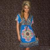 Retro donne Bohemian abito Paisley Print scollo a v corto manica spiaggia indossare abito estivo