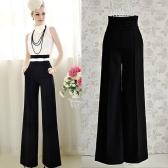 Vintage mujer suelta pantalones cremallera cintura bolsillo delantero llamarada pierna ancha OL carrera pantalón negro