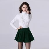 Neue Mode Frauen Shorts Hosen elastische Taille Plissee überlagern Volltonfarbe Pantskirt schwarz/rot/grün