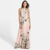 Donne sexy abito in Chiffon stampa floreale collo rotondo senza maniche Party Beach Long Boho Maxi Dress Sundress rosa